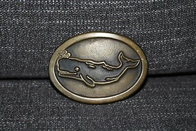 Vintage Nautical Ocean Themed Sperm Whale Brass Oval Belt Buckle