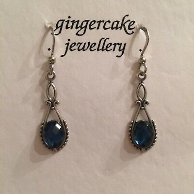 SMALL SLIM VICTORIAN STYLE FACETED MID BLUE DARK SILVER PLATED EARRINGS hook