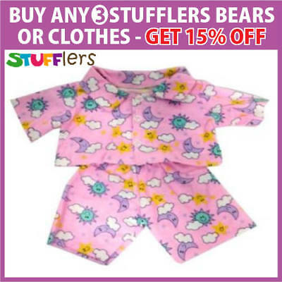 PINK FLANNELETTE PJS pajamas clothes by Stufflers – Fits Medium Bear Clothes