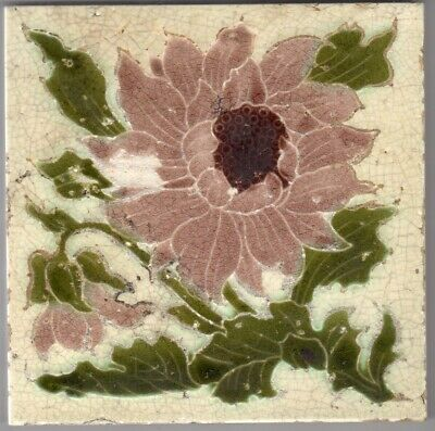 Mintons, Ltd - c1885 - Pink Floral - Antique Majolica Hearth Tile 1