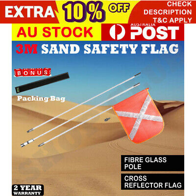 3M High Sand Safety Flag 4WD Towing Offroad Touring 4x4 Simpson Desert OZ NEW