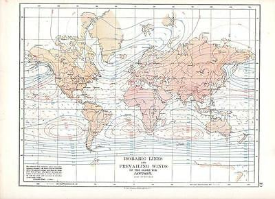 1897 VICTORIAN MAP ISOBARIC LINES & PREVAILING WINDS OF GLOBE JANUARY Dr BUCHAN