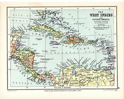 80 Years Old ~ Map The West Indies & Central America