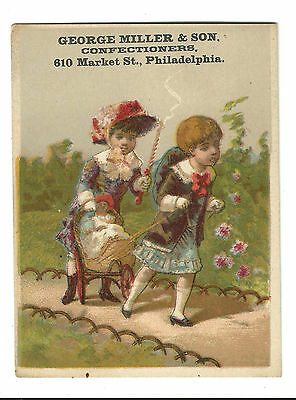 Old Trade Card George Miller Confectioner Candy Philadelphia Girls Baby Carriage