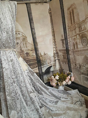 Heavy Lined Curtains Huge Bay Window Ice Grey  Crushed Velvet  Blackout Thermal