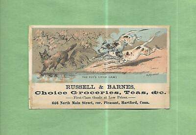 Dogs Chase Fox RUSSELL & BARNES GROCERIES Of HARTFORD, CT Victorian Trade Card