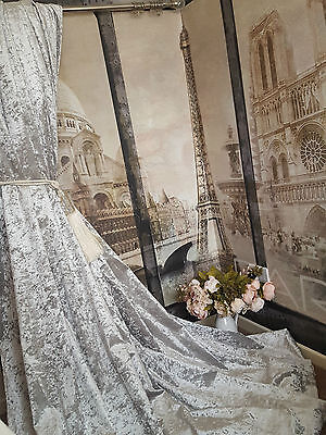"""NEW! Heavenly Heavy Ice Grey Crushed Velvet 113""""D 102""""W Blackout Lined Curtains"""