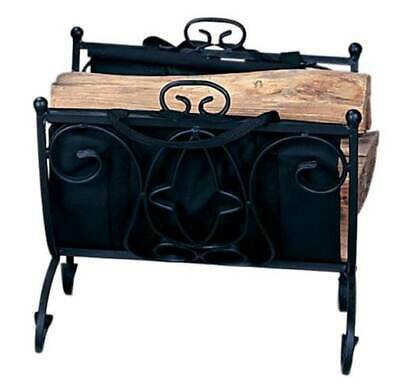 Wrought Iron Log Holder with Carrier & Black Finish [ID 7589]