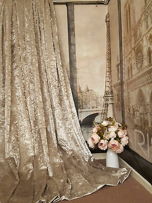 NEW Quality Champagne Gold Crushed Velvet  Blackout Thermal Lined Heavy Curtains