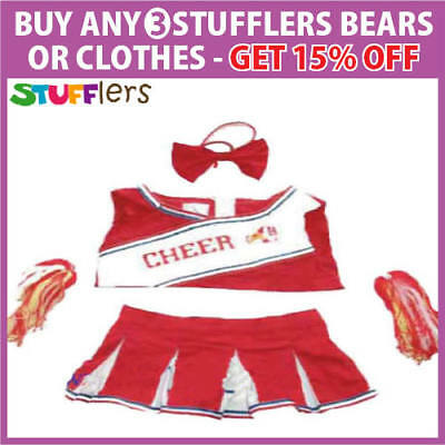 Red Cheerleader Clothing Outfit by Stufflers – Fits Medium Sized 40cm Plush Toys