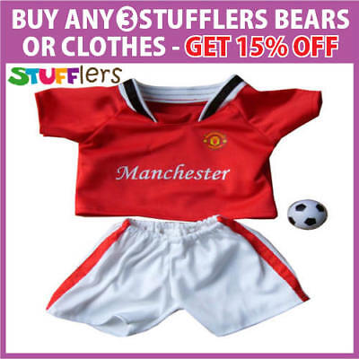 Manchester Soccer Clothing Outfit by Stufflers – Fits Medium Size 40cm Plush Toy