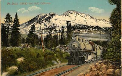 MOUNT SHASTA Steam Train, Siskiyou County, CA Railroad ca 1910s Vintage Postcard
