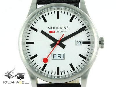 Mondaine SBB Sport Quartz watch - White - Leather strap - 41 mm