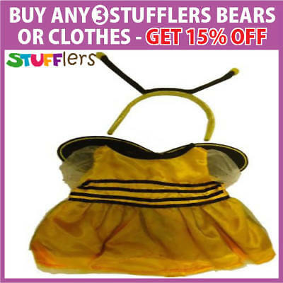 Yellow Bee Dress Clothing Outfit by Stufflers – Fits Medium Sized 40cm Plush Toy