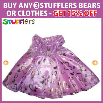 Purple Dress Clothing Outfit by Stufflers – Fits Medium Sized 40cm Plush Toys
