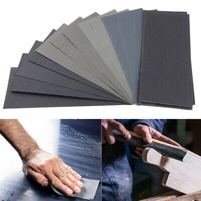 42pc Mixed Wet and Dry Waterproof Sandpaper 120-3000 Grit Sheets Assorted Wood