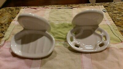 Vtg 2 Pc White Ceramic Bathroom Set Soap Dish Toothbrush Holder Wall Mount Oval
