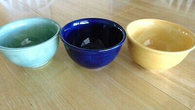 Lot of 3 Tabletops Salute Hand Painted Series Cereal Soup Mixing Bowls