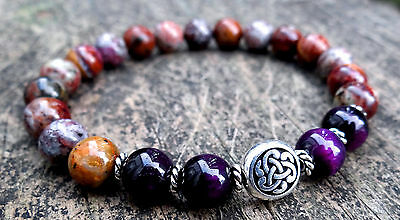 Natural multi-colored opal and purple tiger eye bracelet w/ silver Celtic knot