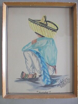 ANTIQUE MID CENTURY Original Mexican G. LOPEZ FOLK ART Painting OF BOY PONCHO