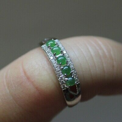 "Size 6 1/2  CERTIFIED Natural ""A"" Untreated Green Jadeite JADE S925 RING #R246"