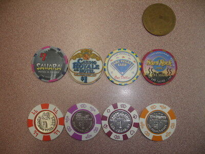 Collectible Lot of 25 Casino Chips and 1 Casino Token - Las Vegas, NV