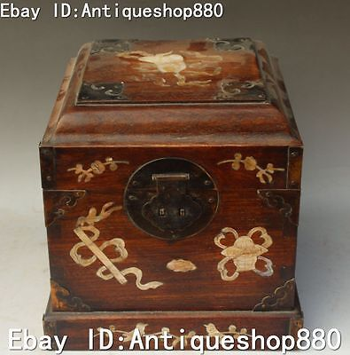 """8""""Chinese Boxwood Wood Inlay Conch Flower Basket Magpie Casket Jewelry Box Boxes"""