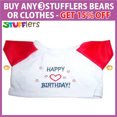 Happy Birthday T Shirt Clothing Outfit by Stufflers – Fits Medium Sized 40cm Toy