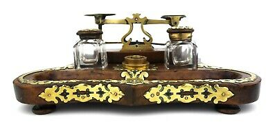 Antique Victorian Ink Stand Ink Well With Postal Scales Brass Overlay