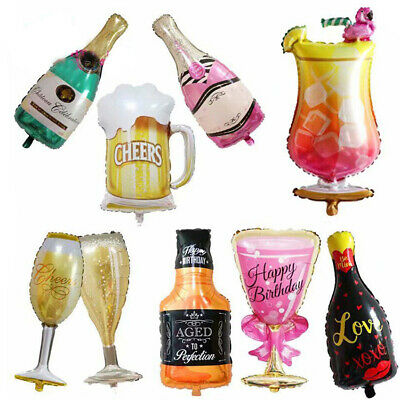 Whiskey Wine Bottle Beer Cup Balloon 30th 40th 50th 60th Birthday Party Supplies