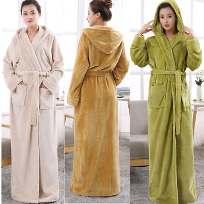 Ladies Winter Towelling Bath Robe Soft Cosy Long Hooded Fleece Dressing Gown