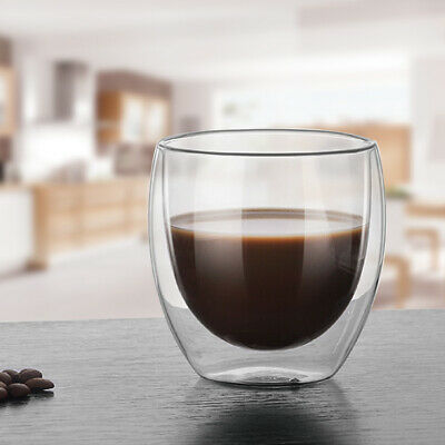 Transparent Glass Milk Mug Double Layer Coffee Tea Cup Insulated Drinking Cups