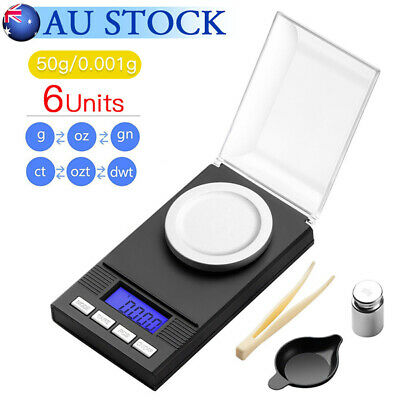 50g 0.001g High Precision Pocket Jewellery Scale Electronic Digital Milligram AU