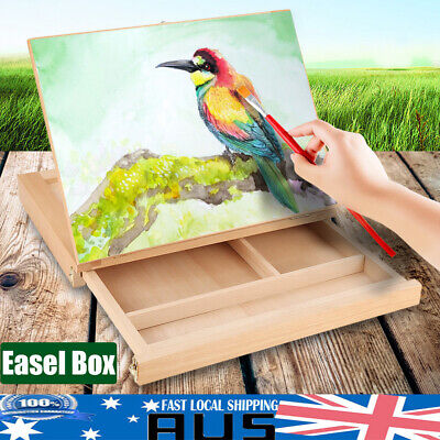Table Easel Painting Stand Drawer Pine Wood Artist Craft Art Drawing Sketch Box