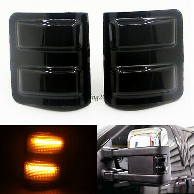 2X Smoked Lens Amber LED Side Mirror Marker Light For 08-16 Ford F250 F350 F450