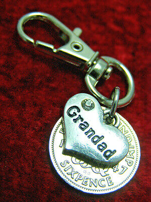 Grandad Birthday gift 1920-1967 lucky Sixpence coin keyring 80th 75th 70th 60th