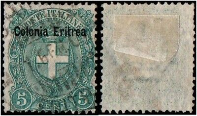 Italian Eritrea. 1897 -1899 Coat of Arms - Italian Stamps Ovrpts. 5c. Cancelled