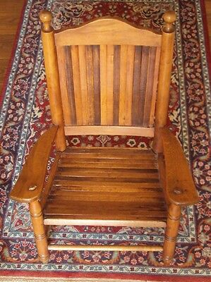 1970's VINTAGE CHILD'S WOODEN SLAT CHAIR ~ MIXED HARDWOOD