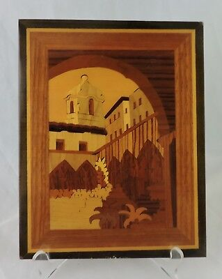 Vintage City Church Marquetry Wood Inlay Lacquered Plaque Italy Wall Hanging