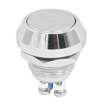 Momentary Push Button Switch Silver Tone 12mm Threaded Dia SPST ON/OFF A2P4