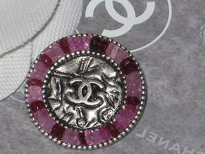 Chanel   Silver Metal Cc Logo Front  Pink  Stones Button  16 Mm  New