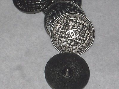 Chanel Paris Cambon 1 Cc Logo Front Auth Dark Silver  Buttons  24  Mm  New