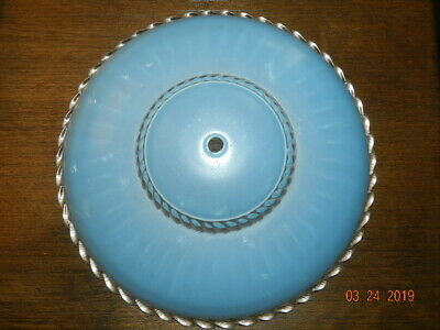 Vintage Mid Century Rope trim Ceiling Light Glass Globe /Shade Blue light