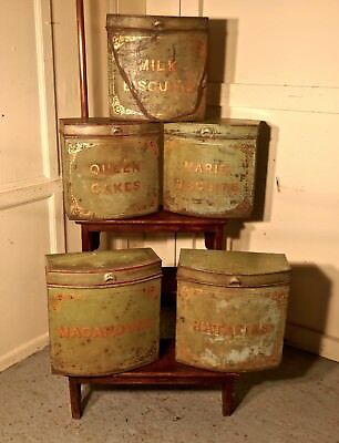 5 Large Victorian Baker's Shop Tins, Toleware Biscuit Canisters
