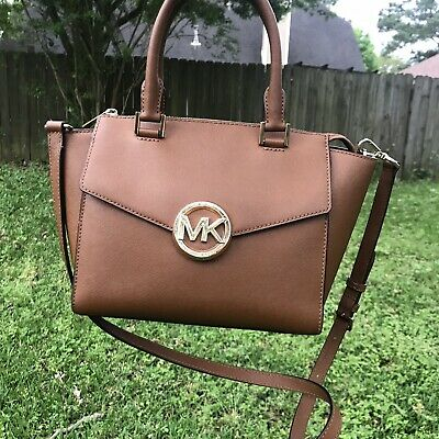 ded83beb1a55 Michael Kors Hudson Tan Brown Leather Tote Satchel Bag Large Handbag  Envelope