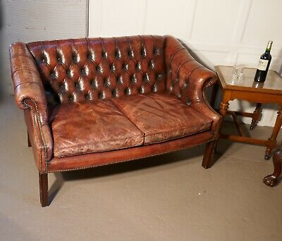 Edwardian Leather 2 Seater Library Chesterfield  Settee