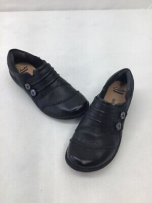 2591fa3e452 CLARKS BLACK LEATHER Loafers Slip On Ankle Strap Dress Shoes Us ...