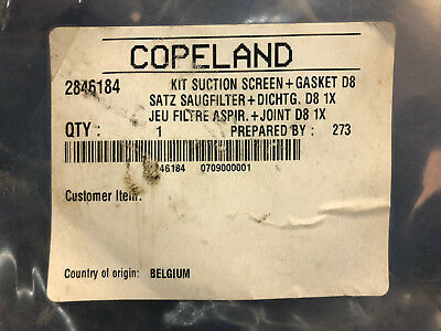 Copeland 2846184 Suction Screen & Gasket Kit for D8