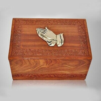 Large/Adult 200 Cubic Inch Rosewood Praying Hands Funeral Cremation Urn