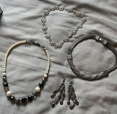 Silver Statement Necklace Job lot x 4 items EXC COND Silver coloured Jewellery